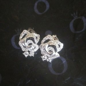 Jewelry - Sterling Silver Crystal Rose Studs NWOT
